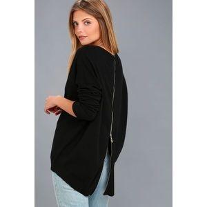 Lulus Black zipper back sweater